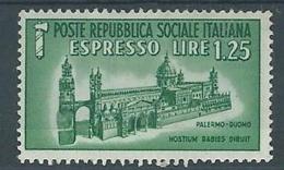 1944 RSI ESPRESSO DUOMO DI PALERMO 1,25 LIRE MH * - RR4372-4 - 4. 1944-45 Repubblica Sociale