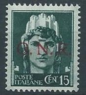 1944 RSI GNR VERONA 15 CENT MNH ** - RSI240-8 - 4. 1944-45 Repubblica Sociale