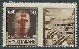 1944 RSI PROPAGANDA DI GUERRA 30 CENT MNH ** - CZ41-8 - 4. 1944-45 Repubblica Sociale