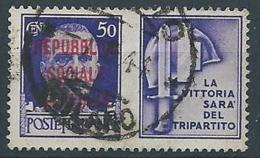 1944 RSI USATO PROPAGANDA DI GUERRA 50 CENT - RR13743 - 4. 1944-45 Repubblica Sociale