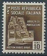 1944-45 RSI MONUMENTI DISTRUTTI 10 CENT MNH ** - RR13732 - 4. 1944-45 Repubblica Sociale