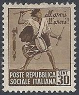 1944-45 RSI MONUMENTI DISTRUTTI 30 CENT MH * - RR12018 - Neufs