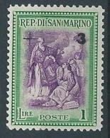 1947 SAN MARINO BENEFICENZA 3 SU 1 LIRA MNH ** - RR13945 - San Marino