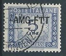 1949-54 TRIESTE A USATO SEGNATASSE 1 RIGA 5 LIRE - RR13055 - 7. Triest
