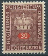 1950 LIECHTENSTEIN FRANCOBOLLI DI SERVIZIO 30 R MNH ** - LT030 - Official