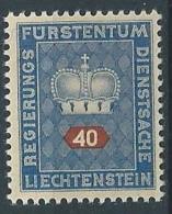 1950 LIECHTENSTEIN FRANCOBOLLI DI SERVIZIO 40 R MNH ** - LT030 - Official