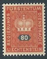 1950 LIECHTENSTEIN FRANCOBOLLI DI SERVIZIO 80 R MNH ** - LT030 - Official