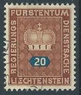 1950 LIECHTENSTEIN USATO FRANCOBOLLI DI SERVIZIO 20 R - LT031 - Official