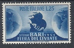 1951 ITALIA FIERA DI BARI MH * - RR12521 - 1946-60: Nieuw/plakker