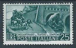 1956 ITALIA TRAFORO DEL SEMPIONE MH * - RR12861 - 1946-60: Nuevos