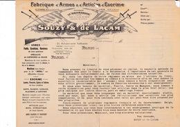 Rare Courrier Maison Souzy & De Lacam, Armes Militaires, Chasse, Escrime, Boulevard Voltaire, Paris, Guerre 1914-1918 - Other