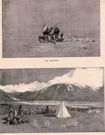 2 ESTAMPES LE MONDE ILLUSTRE *L'Hiver CARRIER-BELLEUSE PINEDO *Du Caucase Aux Indes G. BONVALOT Les Assoiffés - Prints & Engravings