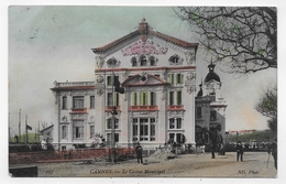 (RECTO / VERSO) CANNES EN 1908 - N° 297 - LE CASINO MUNICIPAL AVEC PERSONNAGES - CPA VOYAGEE - Cannes