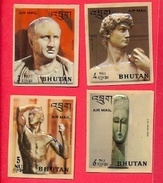 BHUTAN 1971 History Of Sculpture, 4 Highest Air Mail Values Plastic Molded Stamps BHOUTAN - Bhutan