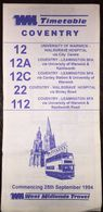 Britain West Midland Travel 25th September 1994 Timetable - Europe