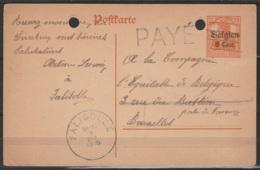 """EP Occ 8c S.7 1/2pf Orange Annulé à La Plume (fortune) Càd FALISOLLE/1918 + Griffe """"PAYE"""" Pour BRUXELLES - Poststempels/ Marcofilie"""