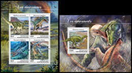 CENTRAL AFRICA 2018 MNH** Dinosaurs Dinosaurier Dinosaures M/S+S/S - IMPERFORATED - DH1832 - Timbres