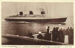 """Cie Gle Transatlantique Paquebot """"NORMANDIE """" Vue Prise Du """"Champlain"""" En Pleine Mer RV - Steamers"""