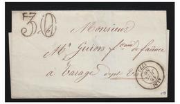FRANCE--1856-- LETTRE D'ALBI POUR VARAGE-- TAXE AU TAMPON 30 -- Tà D TYPE 15 -- LETTRE SANS CORRESPONDANCE-- - Marcophilie (Lettres)