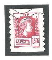 60 Ans Marianne D'Alger. N° 43 - 0,50 Euro; Rouge (3716) Autoadhésif. Emis En Carnet ( N° 1512 ). Oblitéré. - France