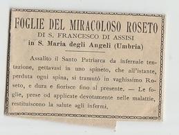 SANTINO  - IMAGE PIEUSE  FOGLIE DEL MIRACOLOSO ROSETO DI S. FRANCESCO D'ASSISI RELIQUIA (ACQUISTO MINIMO 4 SANTINI) - Devotion Images