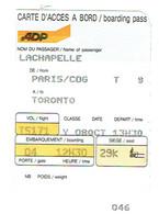 Ancienne Carte D'accès à Bord - Aéroport De Paris - Vol Paris/CDG Toronto 8/10/1995 - Cartes D'embarquement