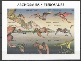 Z1240 !!! IMPERFORATE GUYANA REPTILES DINOSAURS ARCHOSAURS PTEROSAURS 1KB MNH - Briefmarken