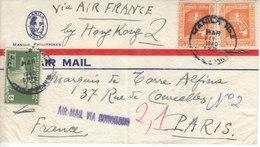 1(DEVANT) DE  LETTRE PAR AVION POUR PARIS - BY HONK KONG - 1940 - Philippines