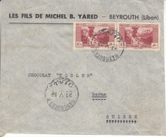 LETTRE POUR LA SUISSE - MAISON CHOCOLAT TOBLER A BERN - 1938 - Lebanon