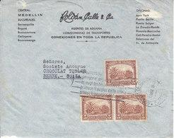 DEVANT DE LETTRE POUR LA SUISSE - MAISON CHOCOLAT TOBLER A BERN - 1938 - Colombie