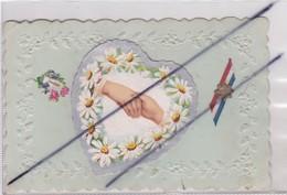 Carte Fantaisie Gaufrée Avec Ajouts (coeur -poignée De Main Bordé De Fleurs Margurite)(ruban Tricolore Avec Edelweiss)So - Other