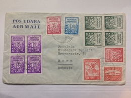 INDONESIA - 1954 Air Mail Cover To Switzerland - Multi-stamped - Indonesia