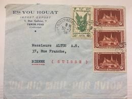 CAMBODIA - 1954 Air Mail Cover - Phnom Penh To Bienne Switzerland - Cambodia