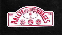 Autocolant .  RALLYE  Des 10.000  VIRAGES . - Automobile - F1