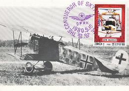 D34942 CARTE MAXIMUM CARD RR 1980 KOREA - AIRPLANE PIONEER ANTHONY FOKKER DVIIF CP ORIGINAL - Airplanes
