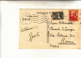 Saragozza To Roma. Periodo Guerra Di Spagna Su Cartolina Postale 1937 - 1931-50 Storia Postale