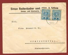 Infla Ab 1. Aug 1921 Brief Bahnpost Grünau - Wels 279 Und Perfins - 1918-1945 1. Republik