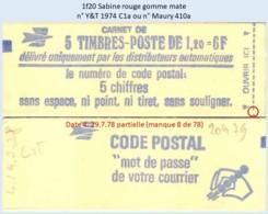 FRANCE - Carnet Date 4.29.7.78 Partielle - 1f20 Sabine Rouge - YT 1974 C1a / Maury 410a - Carnets