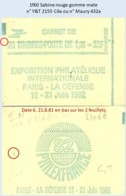 FRANCE - Carnet Conf. 8, Date 6.21.8.81 - 1f60 Sabine Rouge - YT 2155 C4a / Maury 432a - Carnets
