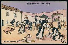 Art EGOR Anticlérical Les Trappistes Comment Ils S'ent Vont Caricature Politique France Carte Postale Original Cpa 1900s - Satiriques