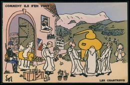 Art EGOR Anticlérical Les Chartreux Comment Ils S'ent Vont Caricature Politique France Carte Postale Original Cpa 1900s - Satiriques
