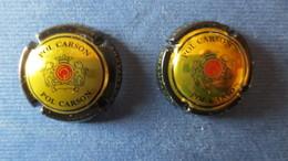 2 CAPSULES CHAMPAGNE POL CARSON. Noir Et Or Mat,  Noir Et Or Brillant - Champagne