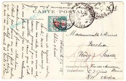 1917 Zensurierte Karte: Auvours-Cercle Militaire 1917 Nach Vevey Schweiz; 10 Rp. Strafportomarke - Weltkrieg 1914-18
