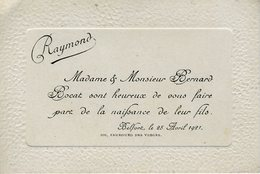 Faire Part De Naissance Bocat, Belfort Avril 1921 - Birth & Baptism