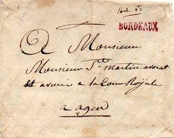 """Linéaire """"BORDEAUX"""" Rouge (non Signalée Par Lenain), Vers 1790, Sans Correspondance - 1701-1800: Précurseurs XVIII"""
