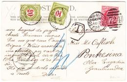1902 Lemco Coronation Postcard Aus South Molton Nach Pontresina; 2 Schweizer Taxmarken - 1902-1951 (Rois)