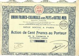 ENTREPRISES COLONIALES VOIR HISTORIQUE Cité UNION FRANCO COLONIALE ET DES PAYS D OUTRE MER 1929 B.E.VOIR SCANS - Industrie