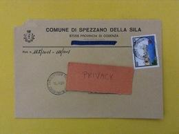 COMUNI D'ITALIA BUSTA DEL 2001 COMUNE DI SPEZZANO SILA CON TURISTICA STINTINO ISOLATO - 6. 1946-.. Repubblica