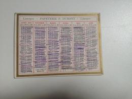 Calendrier 1907 , Papeterie DUMONT, Limoges - Petit Format : 1901-20