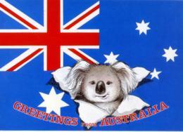 AUSTRALIA  Greetings From..  Flag And Koala   Bandiera - Sonstige